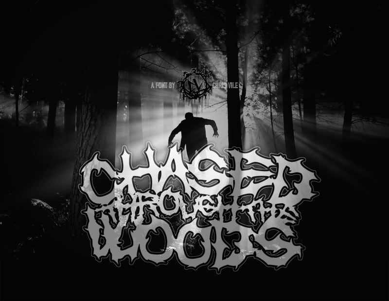 Chased through the woods font